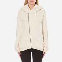 Maison Scotch Women's Home Alone Double Hooded Sweatshirt With Zip Closure White