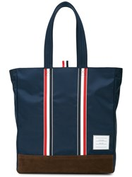 Thom Browne Unstructured Tote In Nylon Tech And Suede Blue