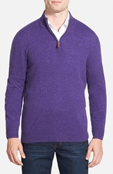 Men's Big And Tall Nordstrom Regular Fit Cashmere Quarter Zip Pullover Purple Wisteria