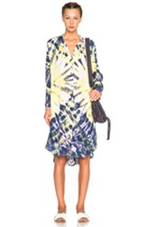 Raquel Allegra Shirt Dress In Purple Yellow Ombre And Tie Dye