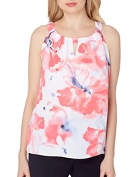 Tahari By Arthur S. Levine Plus Sleeveless Floral Top Ivory Coral