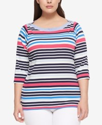 Tommy Hilfiger Plus Size Cotton Striped Boat Neck Top Navy Combo