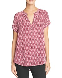 Velvet By Graham And Spencer Printed Chalis Blouse Bordeaux