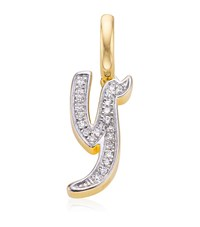 Monica Vinader Gold Plated Diamond Y Pendant Female