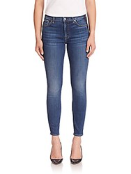 7 For All Mankind Ankle Skinny Jeans With Shadow Tux Stripe Medium Shadow Blue