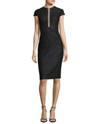 Lela Rose Sheer Panel Cap Sleeve Cocktail Dress Black Metallic