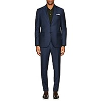 Barneys New York Neat Wool Two Button Suit Blue