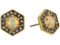 Rebecca Minkoff Opal Hex Stud Earrings Antique Gold White Opal Earring