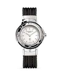 Charriol Celtic Small Round Steel Watch With Diamonds 26Mm Black Silver