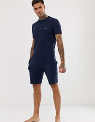 Emporio Armani Short Sleeve Pyjama Set Blue