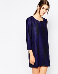 See U Soon Long Sleeve Shift Dress In Dogtooth Blue