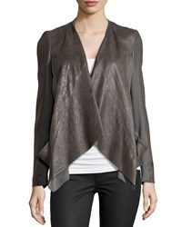 Donna Karan Draped Lambskin Leather Jacket With Jersey Panels Slate Grey
