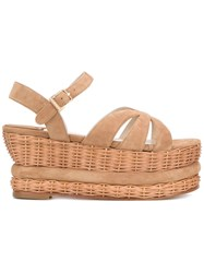 Paloma Barcelo Wicker Heel Sandals Women Calf Leather Leather Suede 36 Nude Neutrals