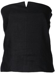 H Beauty And Youth Slit Detail Strapless Blouse Women Linen Flax S Black