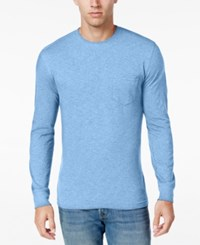 Club Room Men's Long Sleeve Pocket T Shirt Only At Macy's Pale Ink Blue