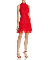 Aqua Lace Mockneck Dress Red