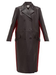 Alexander Mcqueen Double Breasted Checked Wool And Leather Coat Black Red