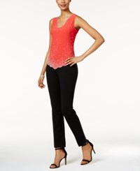 Msk Sleeveless Embellished Blouse Winter Coral