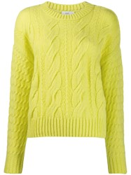 Closed Cable Knit Jumper Yellow
