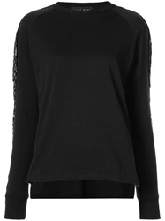 Baja East Embellished Sleeve Sweatshirt Cotton Black