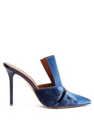 Malone Souliers Danielle Velvet And Satin Mules Dark Blue