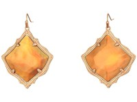 Kendra Scott Kirsten Earrings Rose Gold Dark Brown Mother Of Pearl Earring Orange