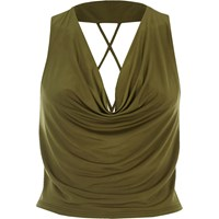 River Island Womens Khaki Cowl Neck Strappy Crop Top