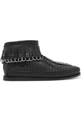 Alexander Wang Montana Embellished Fringed Textured Leather Ankle Boots Black