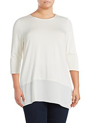 Vince Camuto Solid Roundneck Top New Ivory