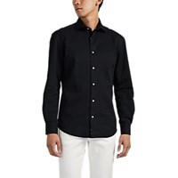 Barneys New York Washed Cotton Twill Shirt Black
