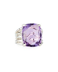 John Hardy Bamboo Silver Ring With Octagon Amethyst Purple