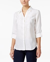 Charter Club Linen Beaded Embroidered Shirt Only At Macy's Bright White