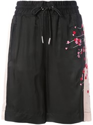 Diesel Embroidered Blossom Track Shorts Black