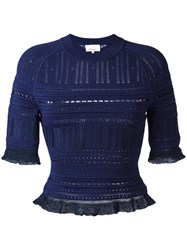 3.1 Phillip Lim Knitted Lace Detail Top Blue