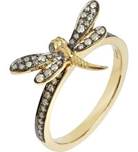 Annoushka Love Diamonds 18Ct Yellow Gold Dragonfly Ring Silver