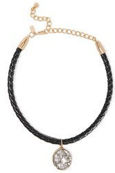 Kenneth Jay Lane Gold And Silver Tone Braided Leather Choker