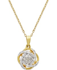 Macy's Diamond Love Knot Pendant Necklace 1 10 Ct. T.W. In 18K Gold Plated Sterling Silver