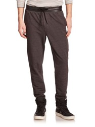 Vince Leather Accented Jogger Pants Black