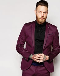 Noose And Monkey Suit Jacket With Contrast Piping In Skinny Fit Wine