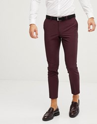 Burton Menswear Skinny Fit Suit Trousers In Berry Red