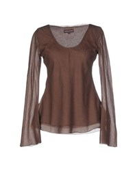 European Culture Topwear T Shirts Women Dark Brown