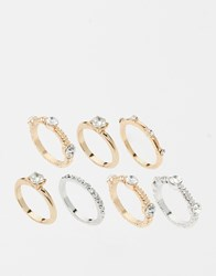 Warehouse Mixed Diamante Ring Multipack Mixedmetal