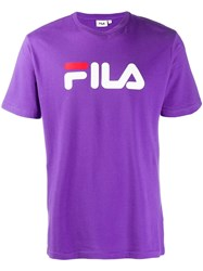 Fila Logo Print T Shirt Purple