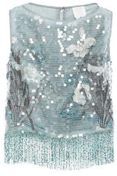 Anna Sui Woman Fringed Embellished Tulle Top Grey Green