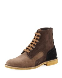 Bottega Veneta Spritz Suede Lace Up Boots Gray