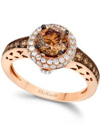 Le Vian Chocolate And White Diamond Engagement Ring In 14K Rose Gold 1 5 8 Ct. T.W.