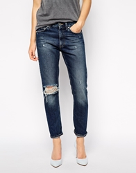 Won Hundred Two Boyfriend Jeans With Rips Blue