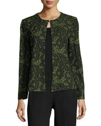 Ming Wang Floral Embossed Knit Jacket Green Black