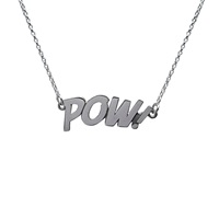 Edge Only Pow Letters Necklace Large In Silver