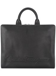 Salvatore Ferragamo Embossed Logo Briefcase Black